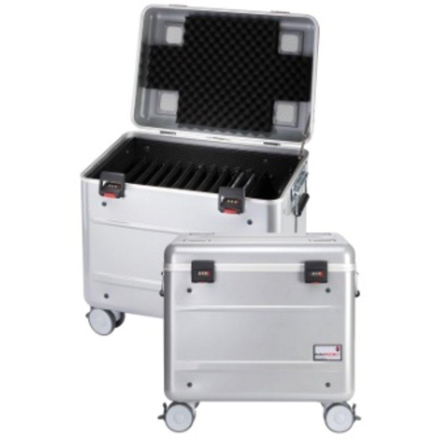 Mobiel oplaadstation voor maximaal 10 iPads met kidscover of tablets, i10 trolley koffer zilvergrijs, zonder compartimenten-2