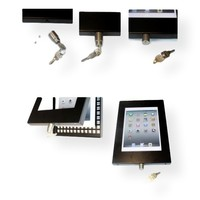 iPad mini vloerstandaard zwart; Securo 7 tot 8 inch tablets; diefstalbestendige behuizing en voet van zwart gecoat staal