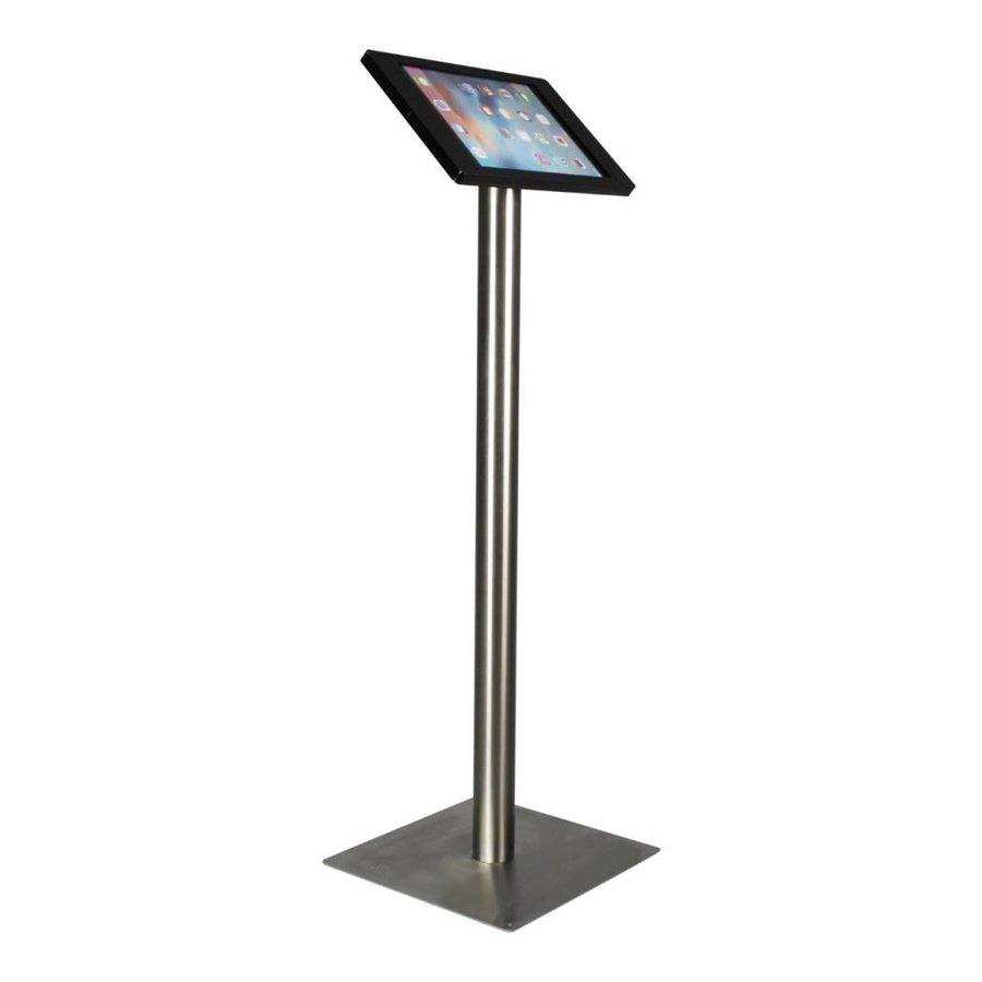 iPad vloerstandaard voor iPad Pro 12.9; Fino zwarte acrylaat behuizing met slot en voet van geborsteld blank staal