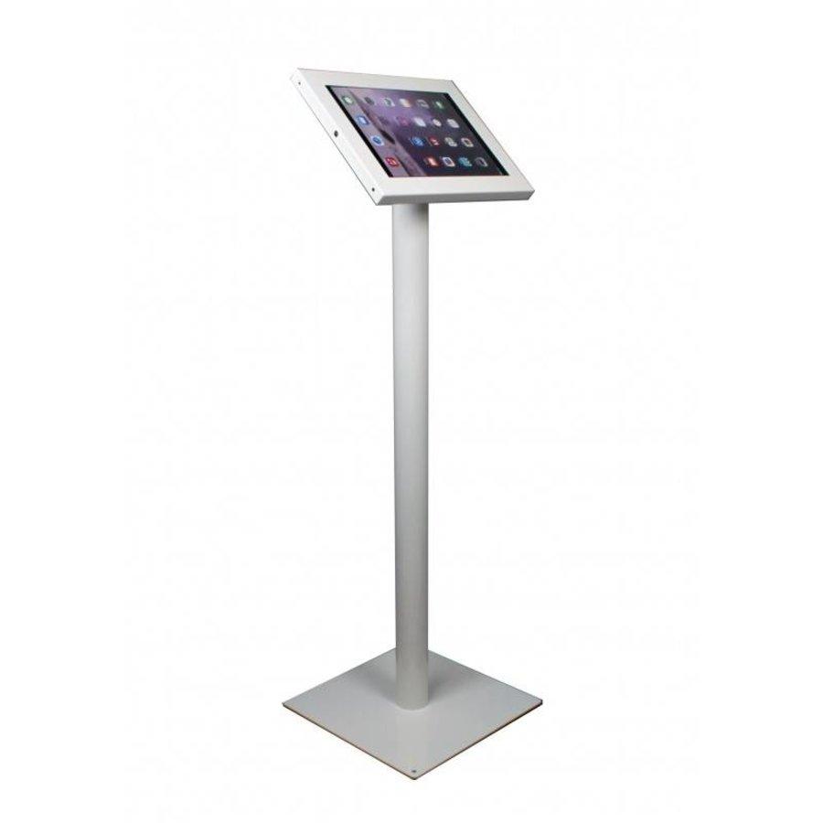 iPad 12.9 vloerstandaard Securo voor 12 tot 13 inch tablets; diefstalbestendige behuizing en voet van wit gecoat staal