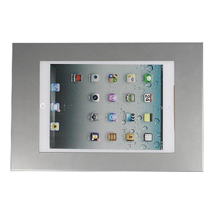 iPad mini wandhouder, vlak tegen muur montage; Securo 7 tot 8 inch tablets, zilvergrijs