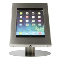 iPad 9.7/10.5 tafelstandaard, blank staal geborsteld/RVS voor Pro 10.5, Air en iPad 2017; Securo voor 9 tot 11 inch tablets diefstalbestendige behuizing en voet van zilverkleur industrieel staal