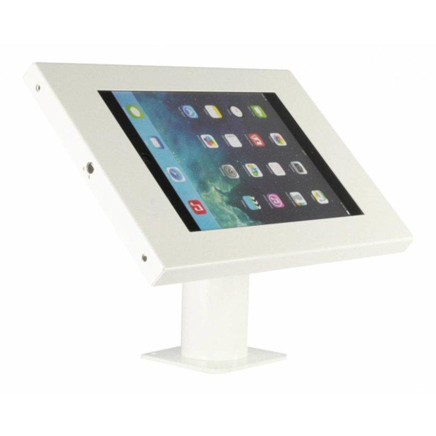 iPad 9.7/10.5 houder wit, bevestigd aan wand of tafel voor Air, iPad 2017 en Pro 10,5-inch; Securo 9-11 inch; afgesloten behuizing en voet van wit gecoat staal