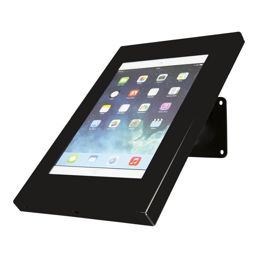 iPad 9.7/10.5 houder zwart, bevestigd aan wand of tafel voor Air, iPad 2017 en Pro 10,5-inch; Securo 9-11 inch; afgesloten behuizing en voet van zwart gecoat staal