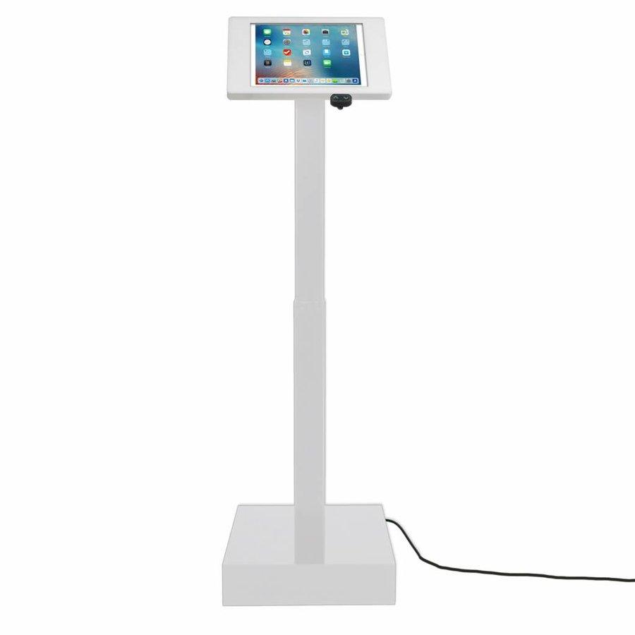Elektronisch aangedreven in hoogte verstelbare vloerstandaard voor iPad 12.9- inch, Ascento Fino in wit, met slot