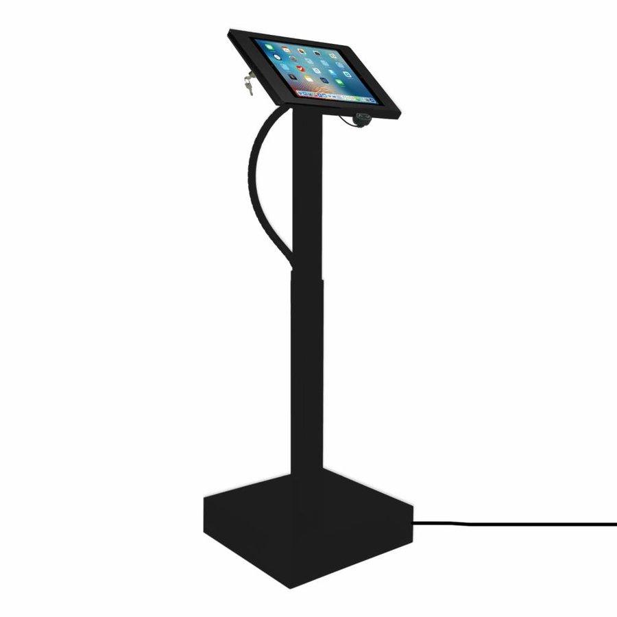 Elektronisch aangedreven in hoogte verstelbare vloerstandaard voor iPad 12.9- inch, Ascento Fino in zwart, met slot