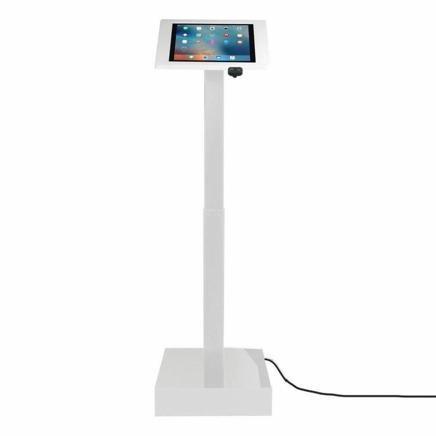 Elektronisch aangedreven in hoogte verstelbare vloerstandaard voor iPad 9,7- inch, Ascento Fino in wit, met slot