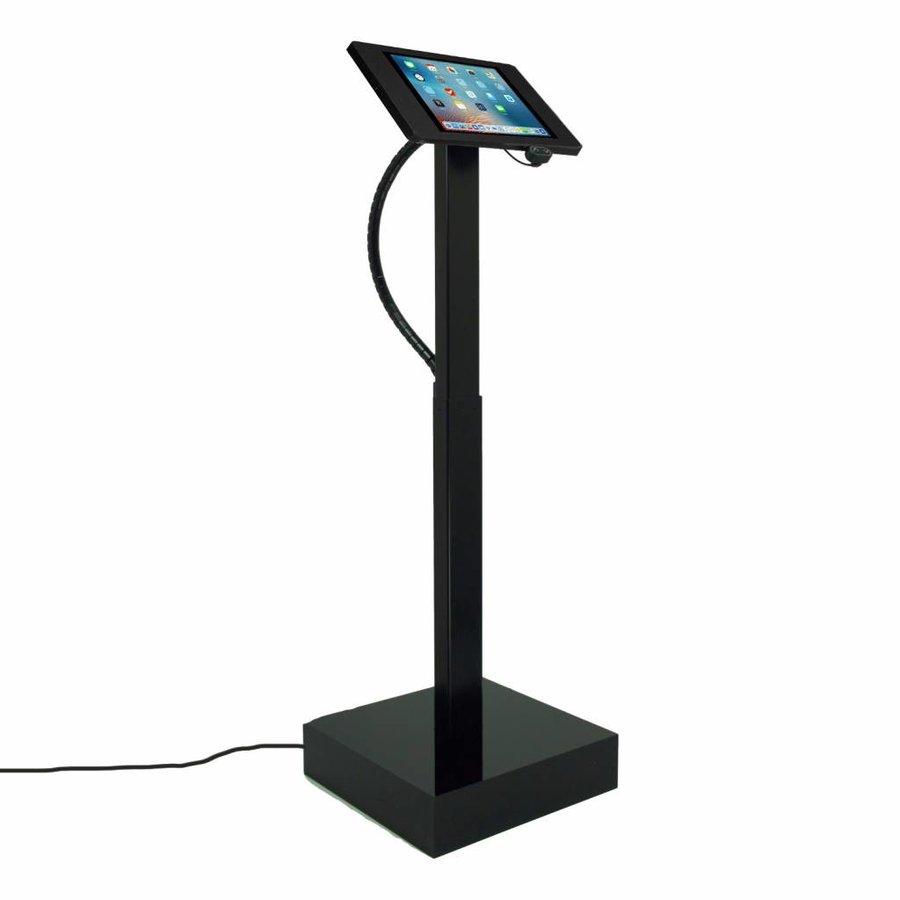 Elektronisch aangedreven in hoogte verstelbare vloerstandaard voor iPad 9,7- inch, Ascento Fino in zwart, met slot