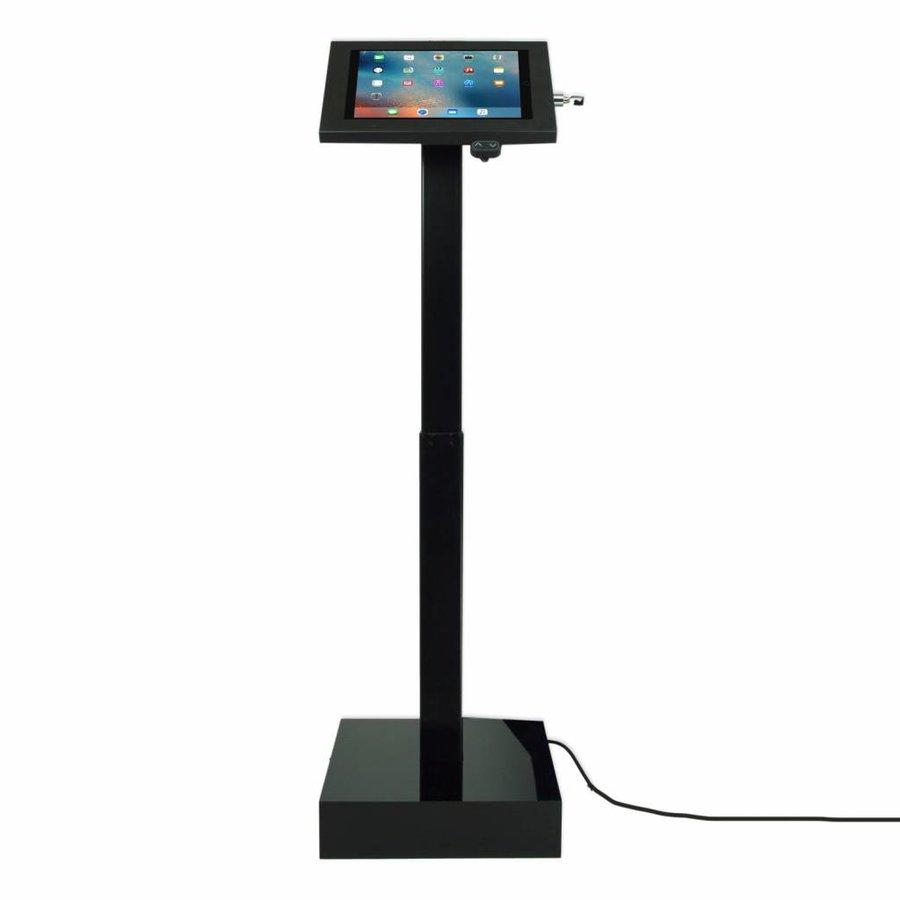 """Elektronisch aangedreven in hoogte verstelbare vloerstandaard voor 12-13"""" tablets, Ascento Securo in zwart, met slot"""