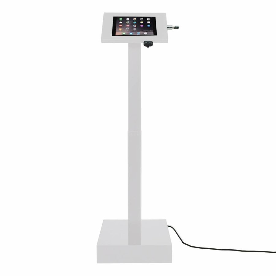 Elektronisch aangedreven in hoogte verstelbare vloerstandaard voor  iPads; 9,7-inch en 10,5-inch, Ascento Securo in wit, met slot