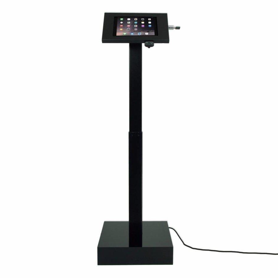 Elektronisch aangedreven in hoogte verstelbare vloerstandaard voor  iPads; 9,7-inch en 10,5-inch, Ascento Securo in zwart, met slot