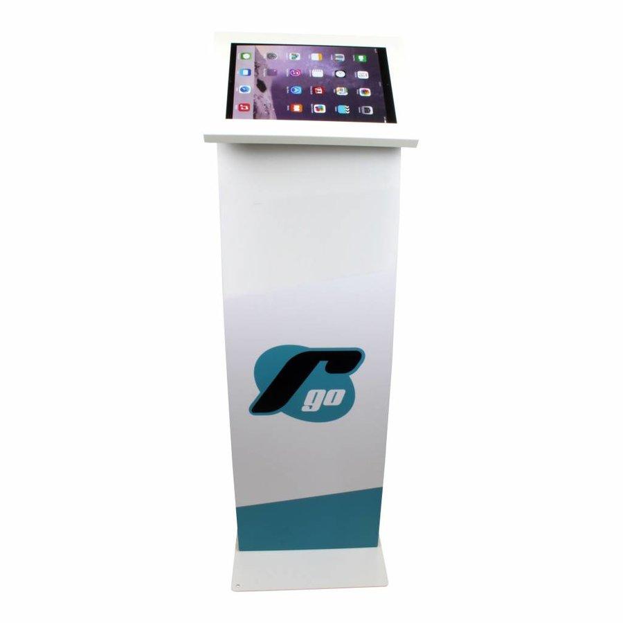 iPad 10.5-inch vloerstandaard met display, wit, Securo; diefstalbestendige behuizing en voet van wit gecoat staal