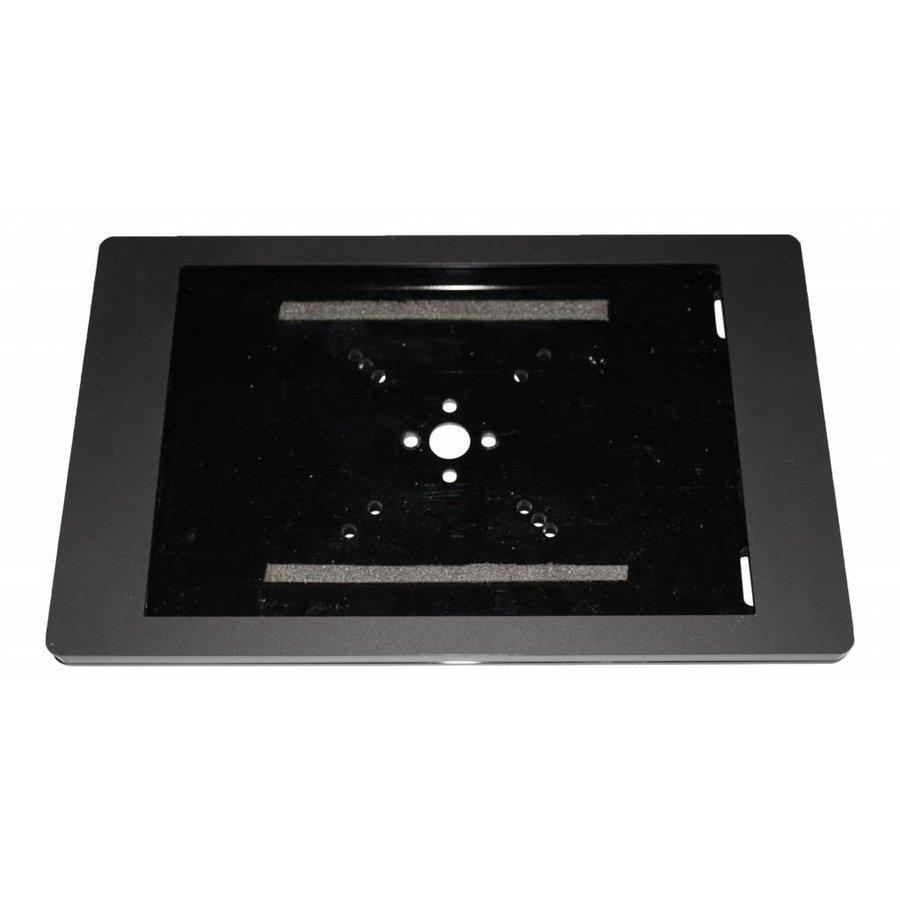 iPad vloerstandaard zwart/RVS voor iPad Gen 2/3/4; Fino, stabiele standaard van gecoat staal met acrylaat behuizing inclusief slot