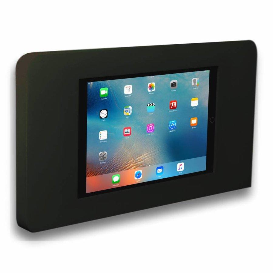 Tablethouder voor grote Apple iPad, Piatto iPad 12.9 2018, zwart, vlak tegen muur montage