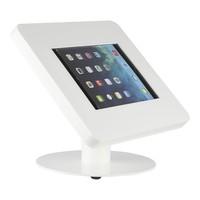 iPad tafelstandaard voor iPad/ iPad Air Meglio 9-11 inch; diefstalbestendige behuizing van wit acrylaat en voet van wit gecoat staal