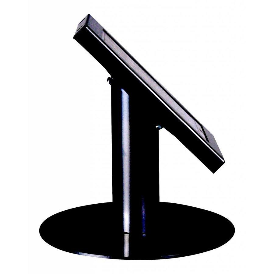 iPad mini tafelstandaard zwart; Securo voor 7 tot 8 inch tablets diefstalbestendige behuizing en voet van zwart gecoat staal