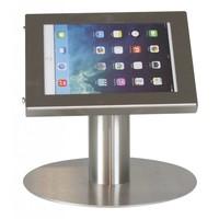 iPad mini tafelstandaard RVS; Securo voor 7 tot 8 inch tablets diefstalbestendige behuizing en voet van zilverkleur industrieel staal
