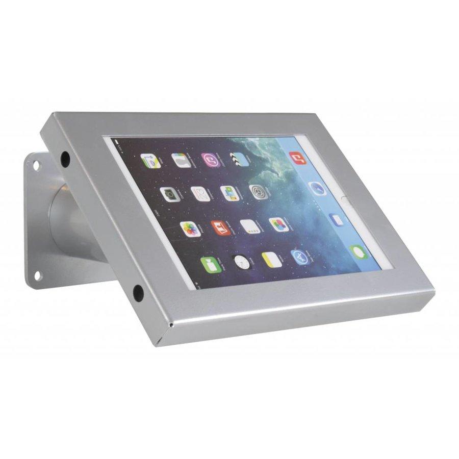 iPad mini houder zilvergrijs, bevestigd aan wand of tafel; Securo voor 7 tot 8 inch tablets; diefstalbestendige behuizing en voet van grijs gecoat staal