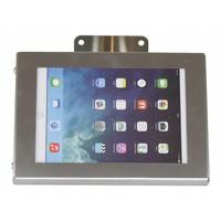 iPad mini houder RVS/staal, bevestigd aan wand of tafel; Securo voor 7 tot 8 inch tablets; diefstalbestendige behuizing en voet van wit gecoat staal