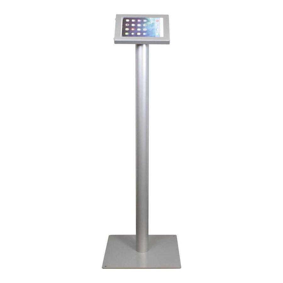 iPad mini vloerstandaard zilvergrijs; Securo voor 7 tot 8 inch tablets; diefstalbestendige behuizing en voet van grijs gecoat staal