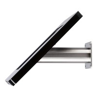 iPad houder wit voor iPad Mini; Meglio, universele en solide houder voor 8 inch tablets. Wand-, tafel montage van gecoat staal met acrylaat behuizing inclusief slot