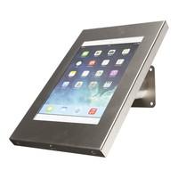 iPad 9.7/10.5 houder RVS/staal, bevestigd aan wand of tafel voor Air, iPad 2017 en Pro 10,5-inch; Securo 9-11 inch; afgesloten behuizing en voet van geborsteld staal