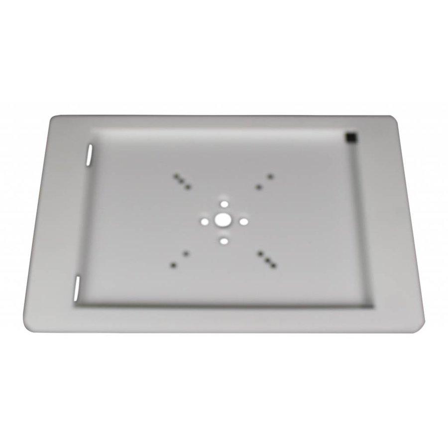 Vloerstandaard voor iPad Pro 9.7 en Air; Fino witte kunststof behuizing met slot en voet van geborsteld staal/ RVS