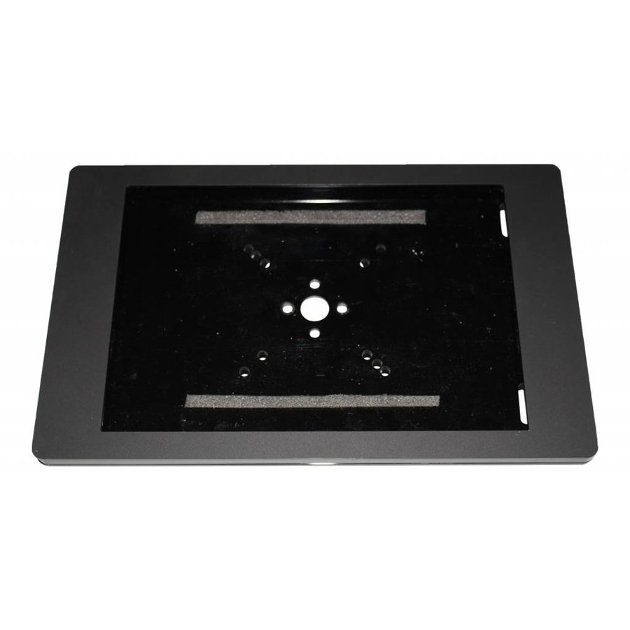 Tafelstandaard voor iPad Air en Air 2; Fino zwarte acrylaat behuizing met slot en voet van zwart gecoat staal