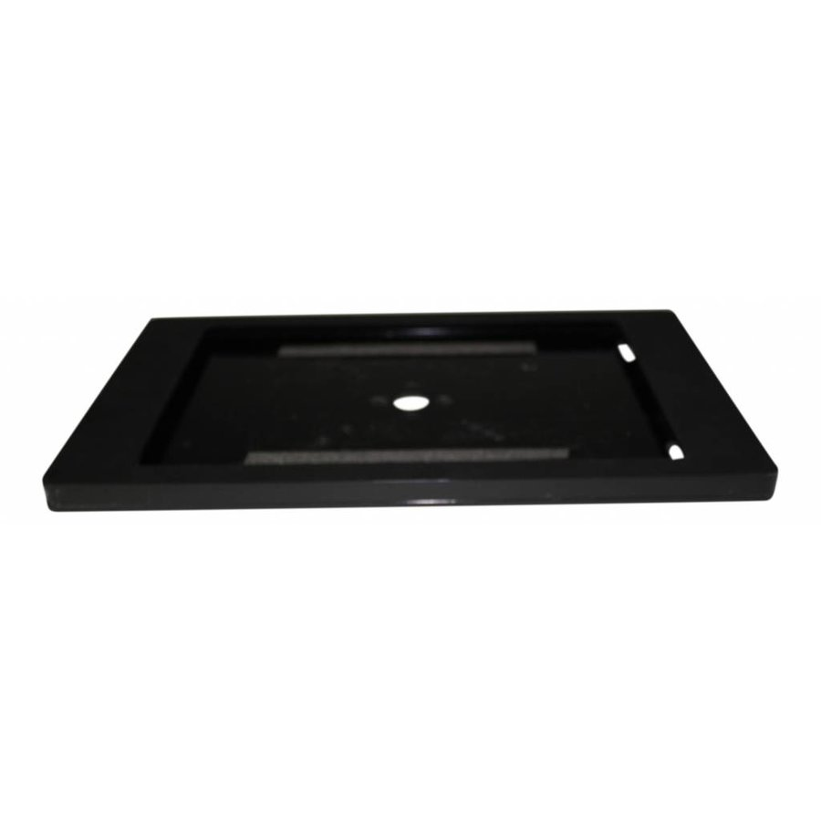 Tafelstandaard voor Apple Pro 9.7 en Air; Fino zwart acrylaat behuizing met slot en voet van RVS/geborsteld staal