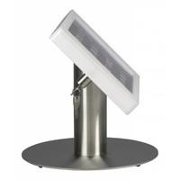 Tafelstandaard voor 9,7-inch iPads; Fino witte acrylaat behuizing met slot en voet van RVS/geborsteld staal