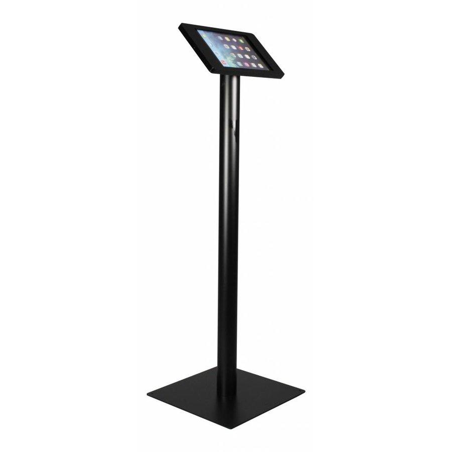 Vloerstandaard voor iPad Mini; Fino zwarte acrylaat behuizing met slot en voet van zwart gecoat staal