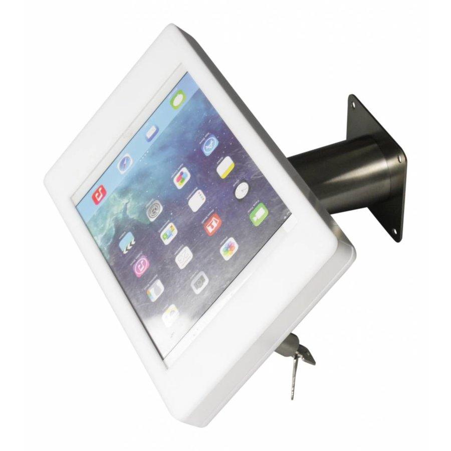iPad houder wit/staal voor iPad Mini; Fino, stijlvolle houder voor wand-, tafel montage van zilverkleurig geborsteld staal met acrylaat behuizing inclusief slot