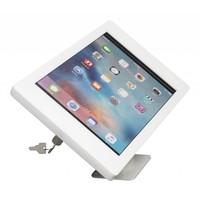 iPad houder wit voor iPad Pro 12.9; Fino, stijlvolle houder voor wand-, tafel montage van gecoat staal met acrylaat behuizing inclusief slot