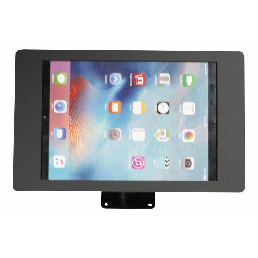 iPad houder zwart voor iPad Pro 12.9; Fino, solide houder voor wand-, tafel montage van gecoat staal met acrylaat behuizing inclusief slot