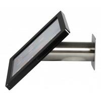 iPad houder zwart/RVS voor iPad Pro 12.9; Fino, solide houder voor wand-, tafel montage van geborsteld staal met acrylaat behuizing inclusief slot