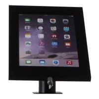 iPad 12.9 houder zwart, bevestigd aan wand of tafel voor Apple Pro 12,9-inch; Securo 12-13 inch; afgesloten behuizing en voet van zwart gecoat staal