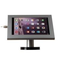 iPad 12.9 houder grijs, bevestigd aan wand of tafel voor Apple Pro 12,9-inch; Securo 12-13 inch; afgesloten behuizing en voet van grijs gecoat staal