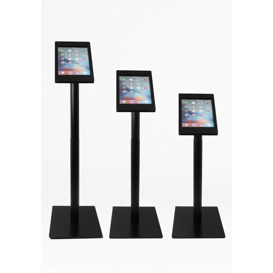 iPad vloerstandaard zwart voor iPad Pro 9.7/ iPad Air; Meglio 9-11 inch, stabiele standaard met diefstalbestendige behuizing van zwart acrylaat en voet van zwart gecoat staal