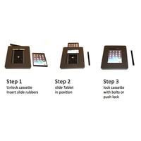 iPad vloerstandaard zwart met display paneel voor iPad Pro 9.7/ iPad Air; Meglio 9-11 inch, stabiele standaard met diefstalbestendige behuizing van zwart acrylaat, display van acrylaat en voet van zwart gecoat staal