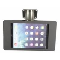 iPad houder zwart/RVS voor iPad Pro 9.7/ iPad Air; Fino, solide houder voor wand-, tafel montage van geborsteld staal met acrylaat behuizing inclusief slot
