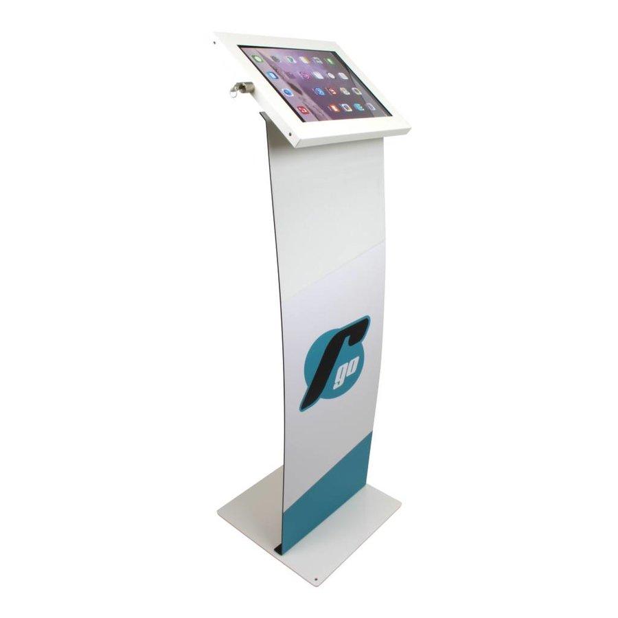 """iPad 12.9 vloerstandaard met display, wit, Securo voor 12-13"""" tablets; diefstalbestendige behuizing en voet van wit gecoat staal"""