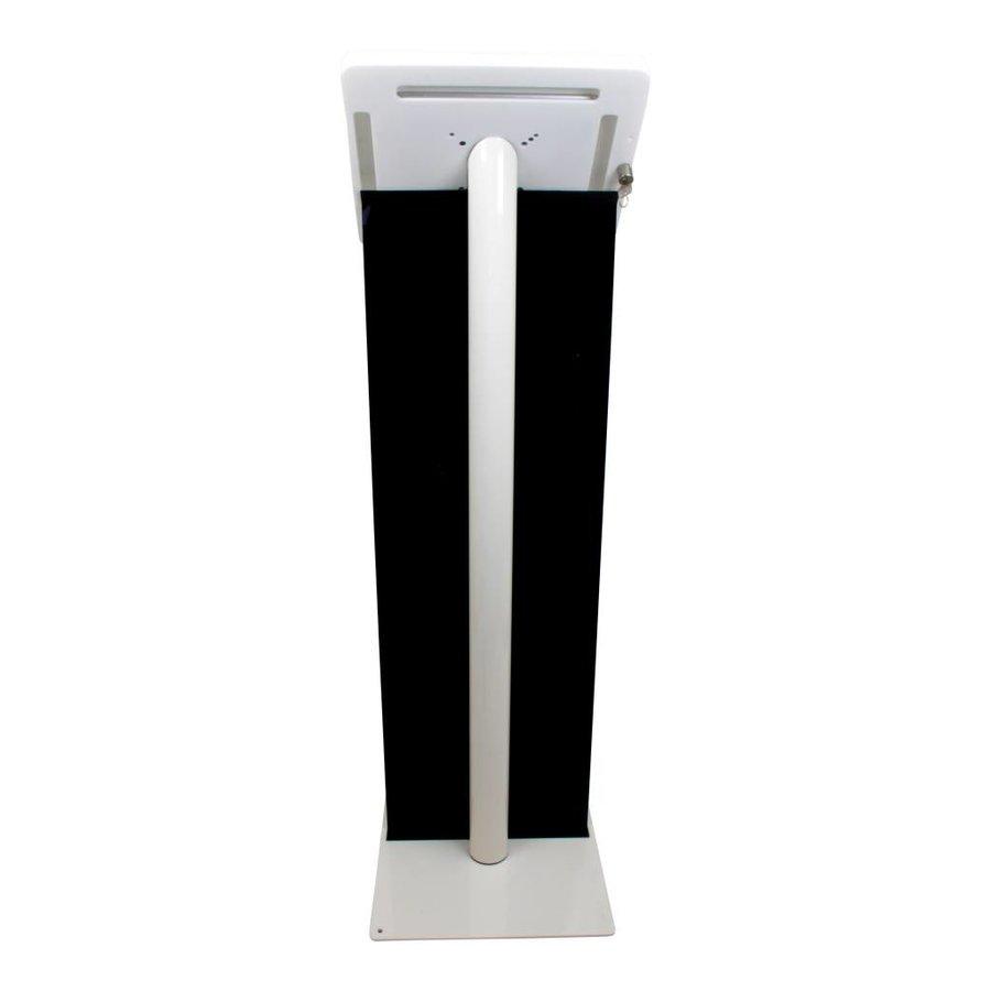 iPad vloerstandaard wit met display paneel voor iPad Pro 9.7/ iPad Air; Meglio 9-11 inch, stabiele standaard met diefstalbestendige behuizing van wit acrylaat, display van PET-G en voet van wit gecoat staal