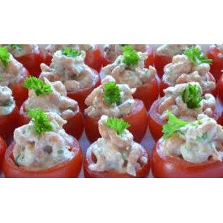 Schaal met 25 tomaatjes gevuld met garnalen