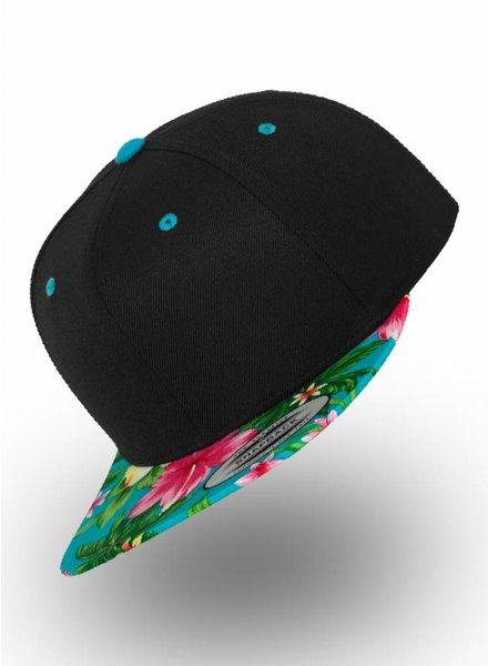 Flexfit by Yupoong Snapback Black Aqua Flowers