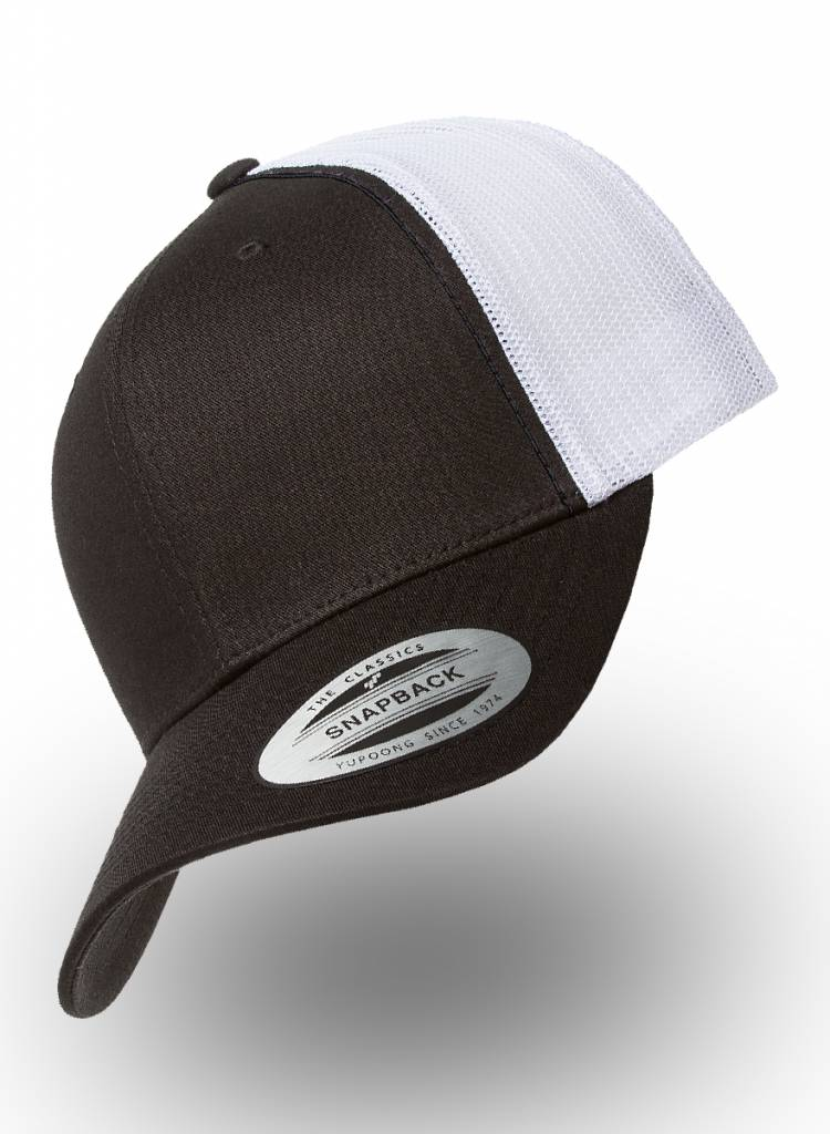 Flexfit by Yupoong Retro Truckers Cap Black White