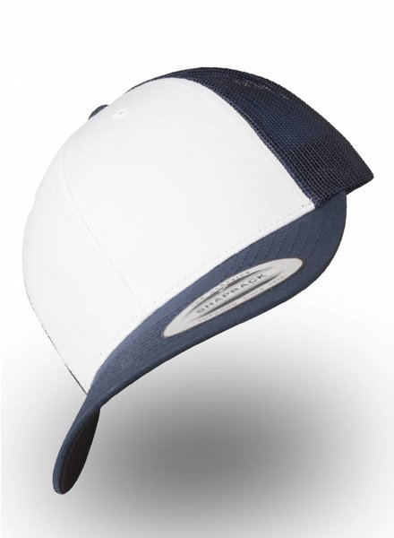 Yupoong 6-Panel Trucker cap with mesh back. Navy White