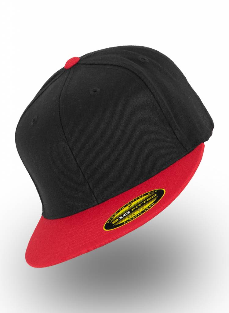 35cbb370 Flexfit 210 Fitted Black Red. Send your own design for a Custom snapback or  Cap.