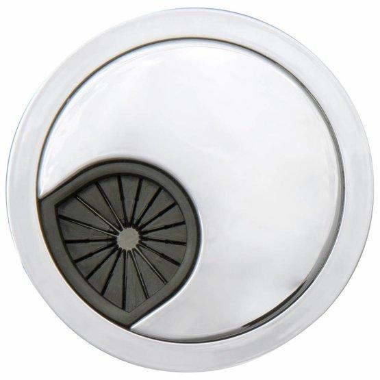 Kabeldoorvoer rond 3-delig kunststof met rubber doorvoer chroom
