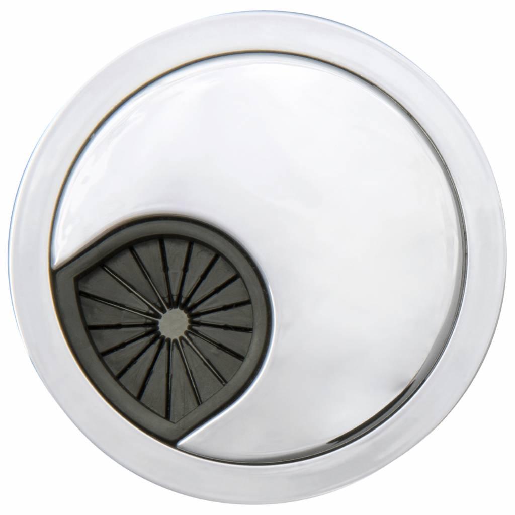 Kabeldoorvoer rond 3-delig rubber chroom