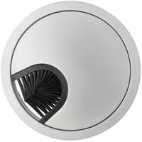 Kabeldoorvoer rond 2-delig met laag profiel en borstel afsluiting metaal aluminium look
